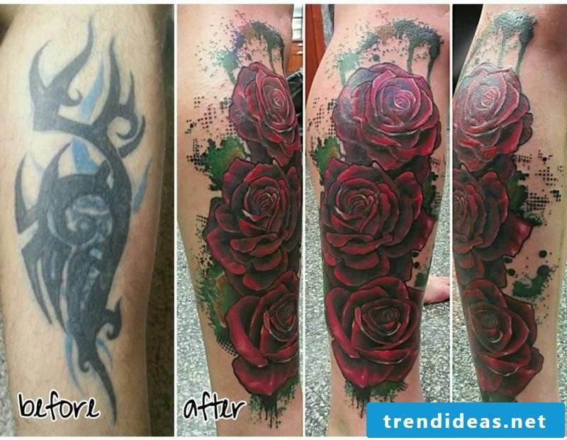 Cover up tattoo leg modern design ideas