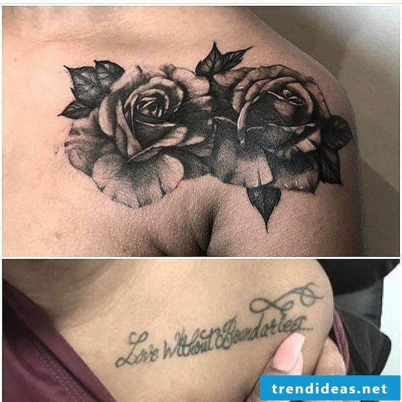 Cover up tattoo chest shoulder