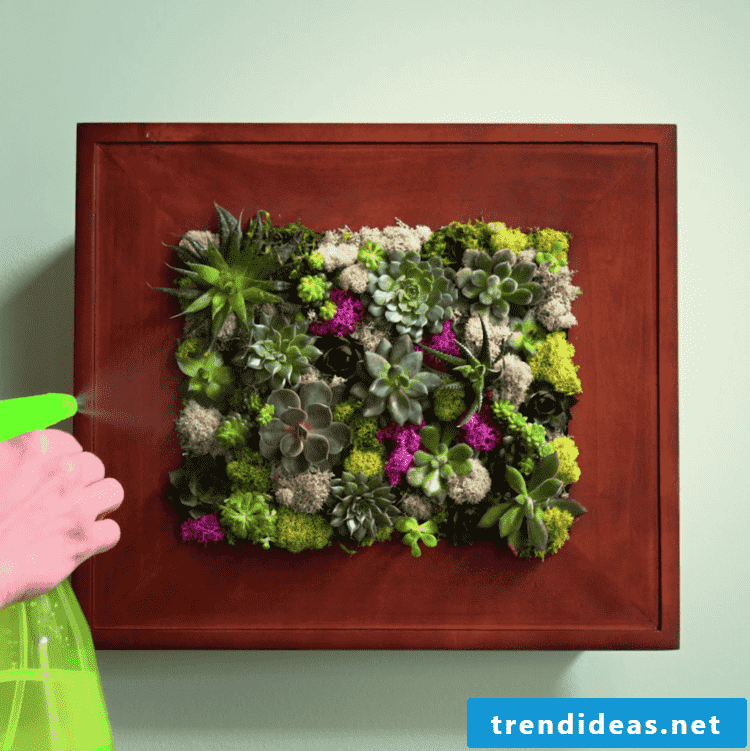 How do you pour the flowers in a picture frame pot?