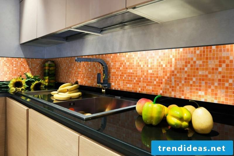 wall in orange from glass mosaic