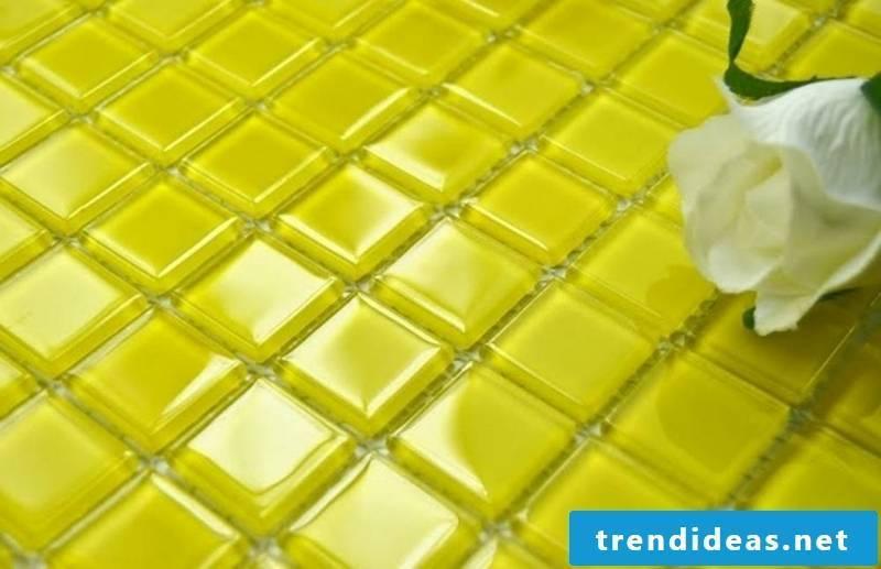 glass mosaic yellow tiles