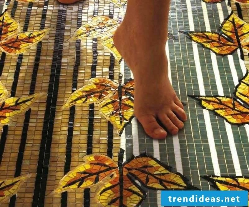 glass mosaic pattern floor tiles