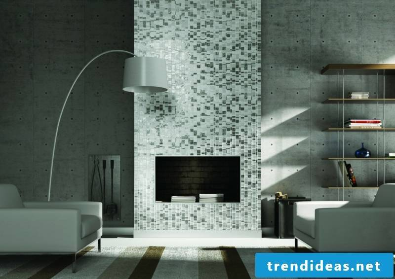 glass mosaic modern accents in the living room