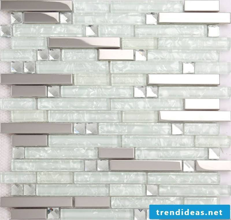 glass mosaic stainless steel look