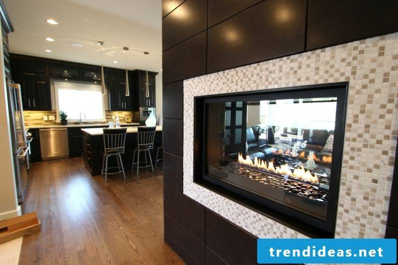 Glass mosaic and fireplace in the living area