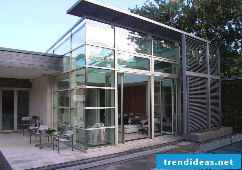 Glass roof terrace as conservatory