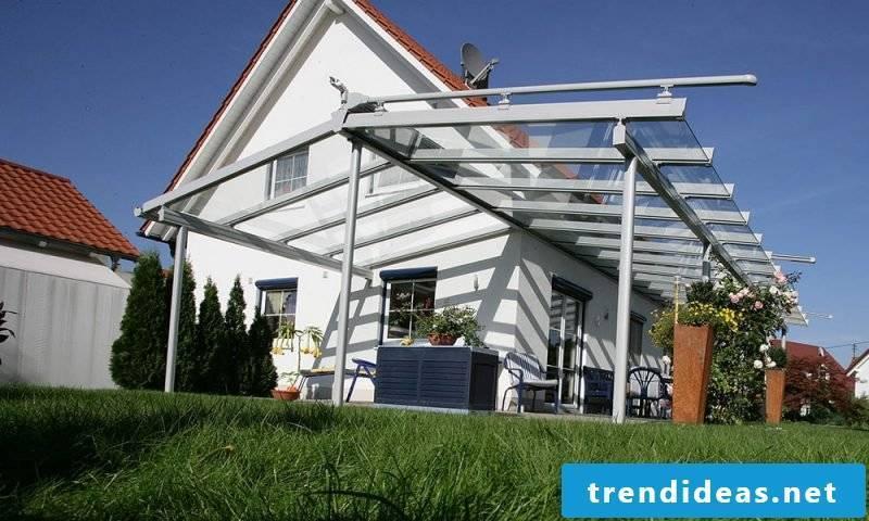 Glass roof terrace design
