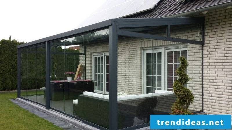 Terrace with glass roof