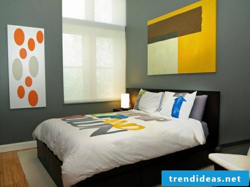 gray wall bedroom colored accents yellow orange