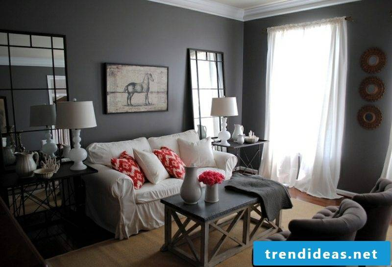 gray wall living room modern look