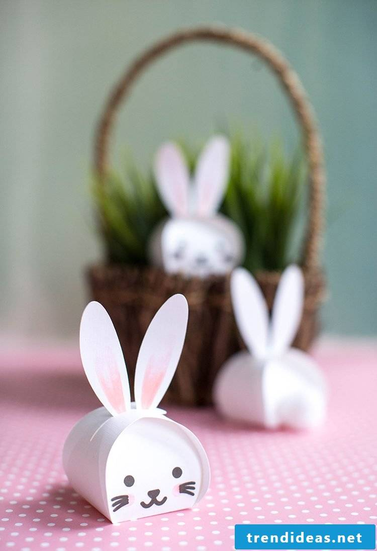 Easter crafting ideas: cute little boxes in the shape of Easter bunnies