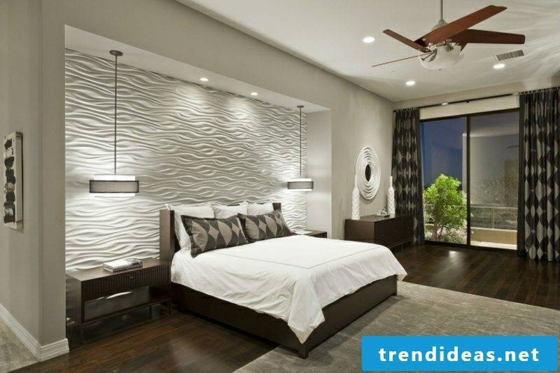 Wall painting ideas bedroom neutral colors 3D wall panels