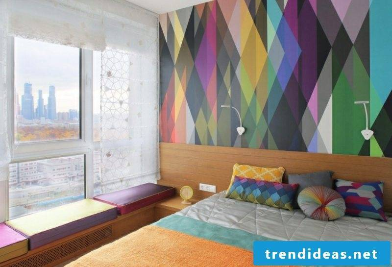 Bedroom ideas wall decoration colorful wallpaper