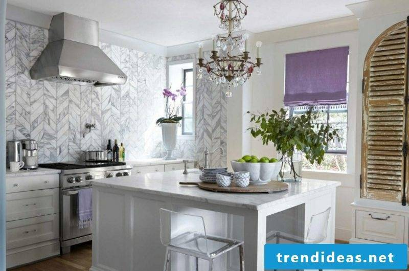 Wall shape kitchen marble tiles