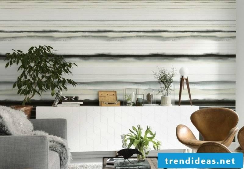 Wall frame wallpaper stripe pattern living room