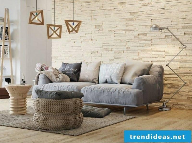 Living room wall stone paneling