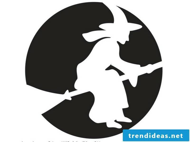 Halloween pumpkin carving templates flying witch