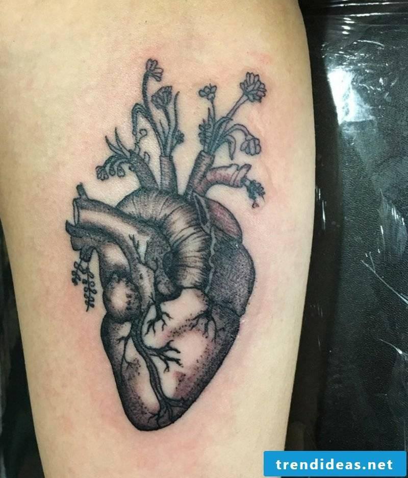 Heart Tattoo Black Gray