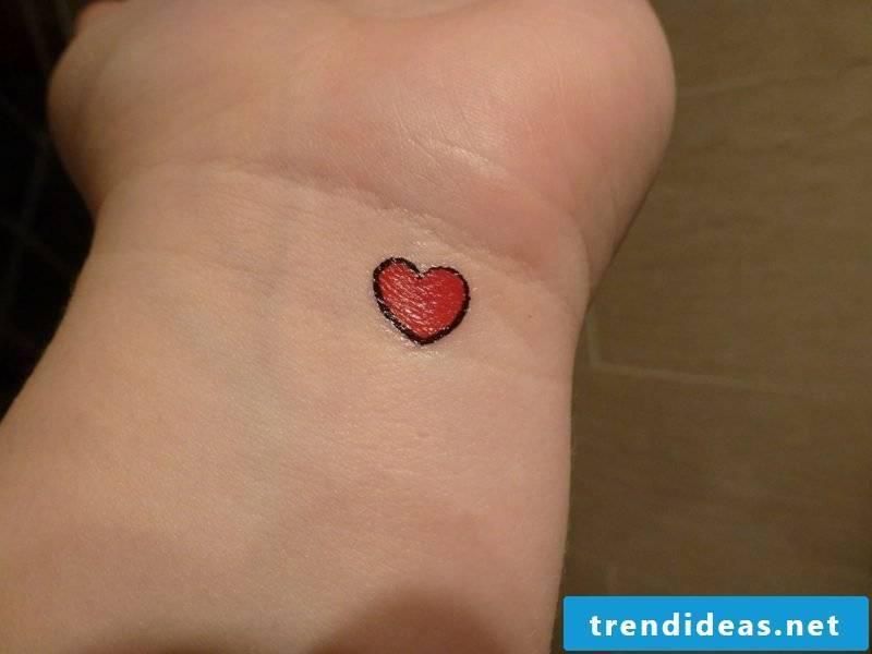 Heart Tattoo Tiny Red Heart Tattoo On Wrist
