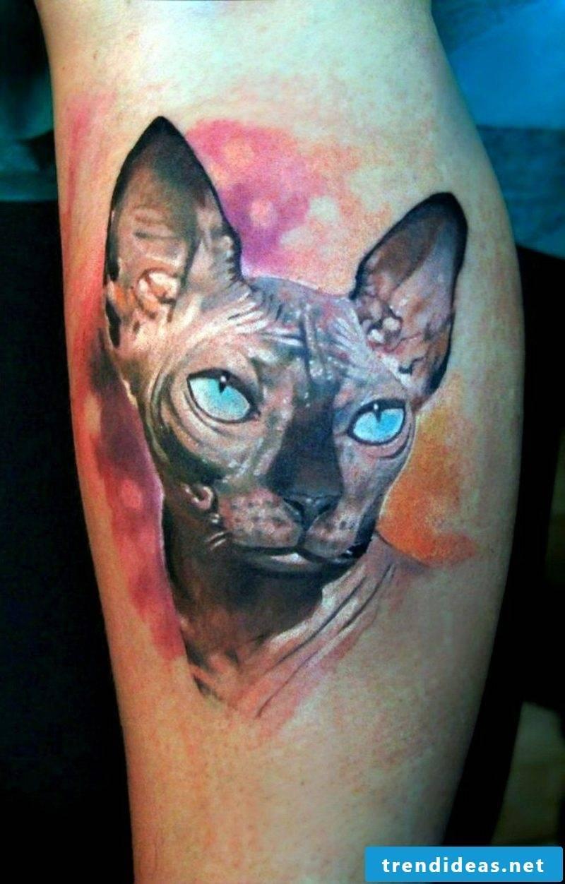 calf tattoo realism leg sphinx
