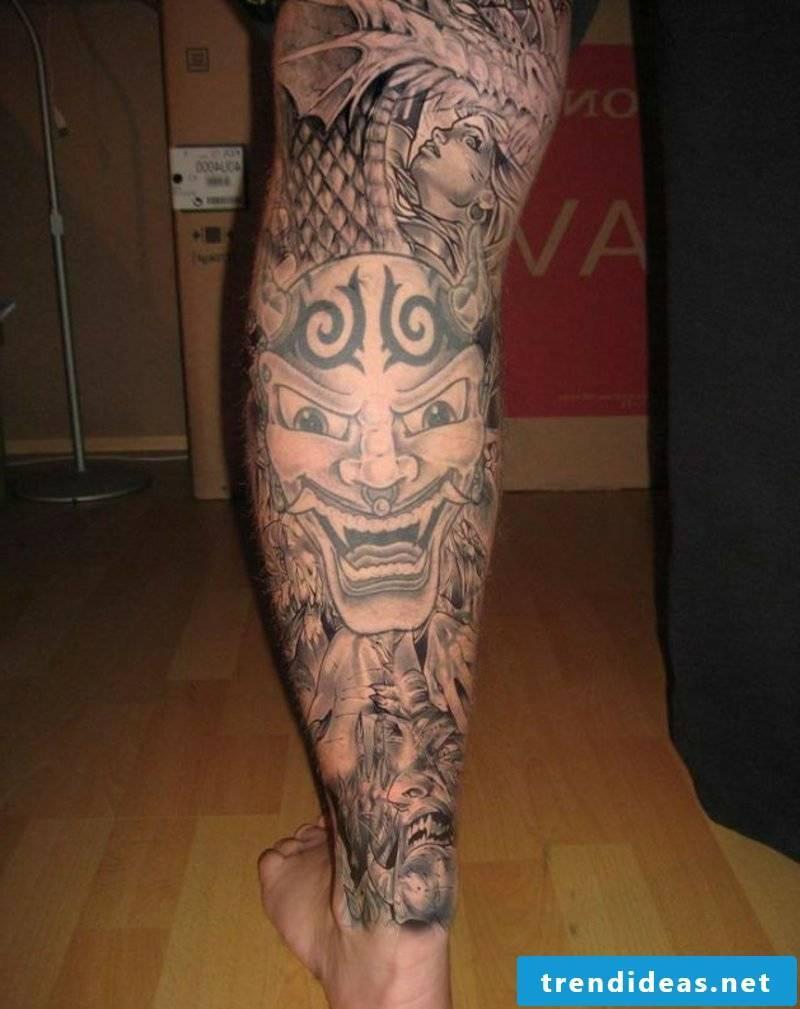 calf tattoo japanese