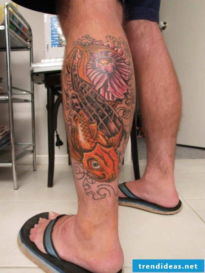 calf tattoo flower and koi fish