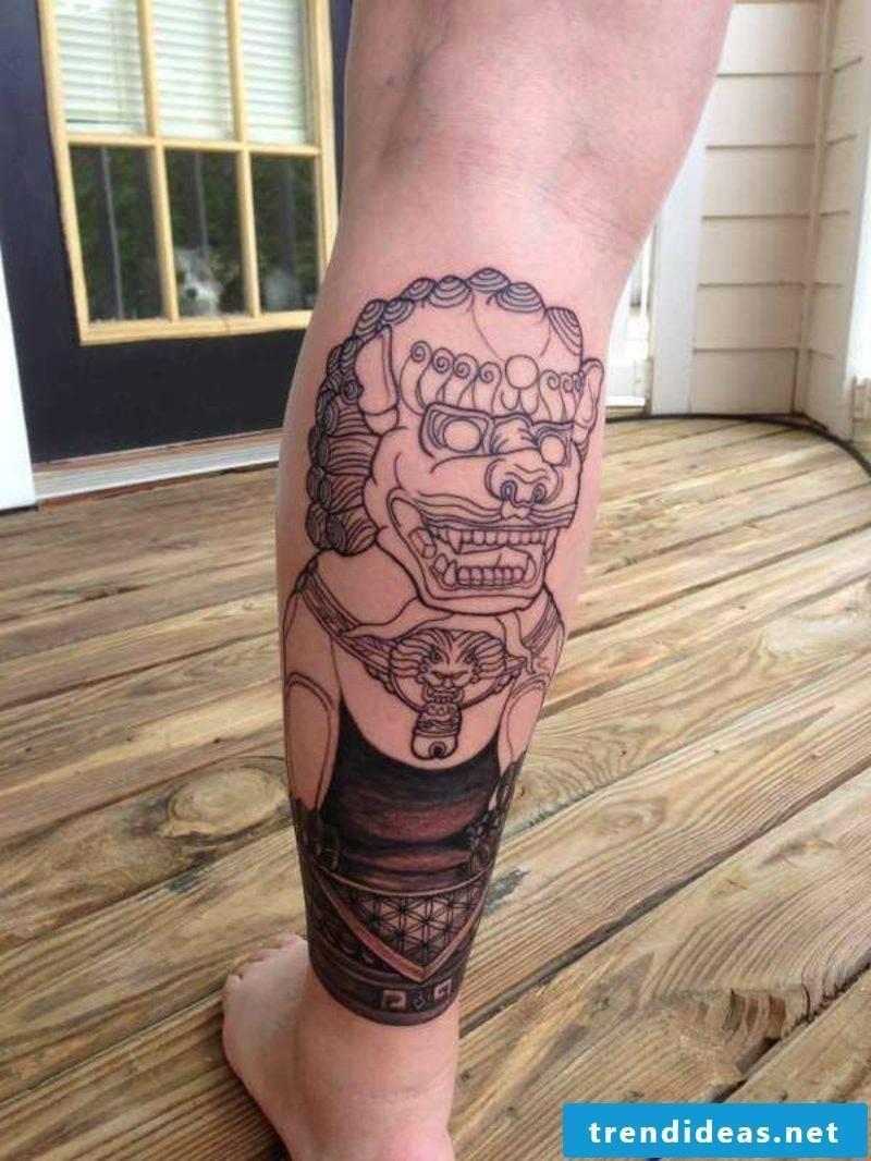 calf tattoo fog dog