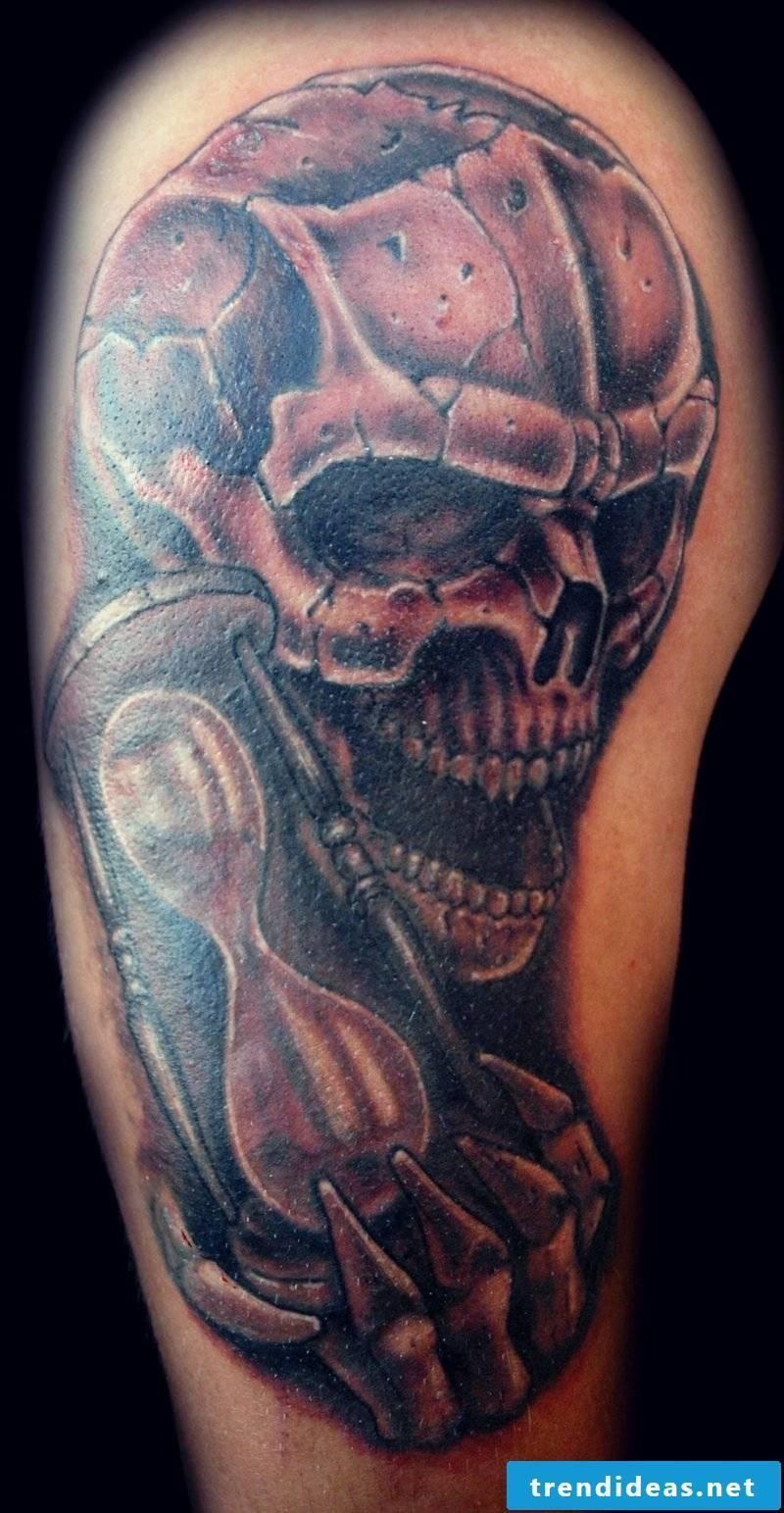 Hourglass Tattoo skull and hourglass