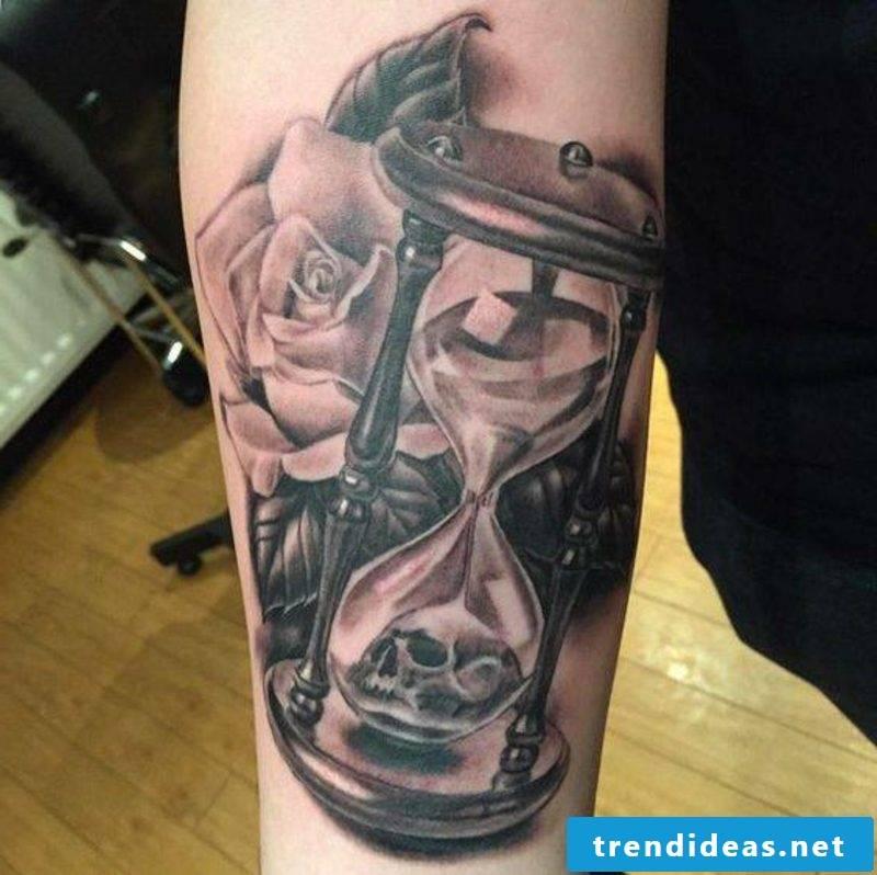 Hourglass Tattoo Gray Rose Skull