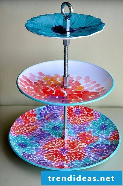 Hand painted porcelain cake stand
