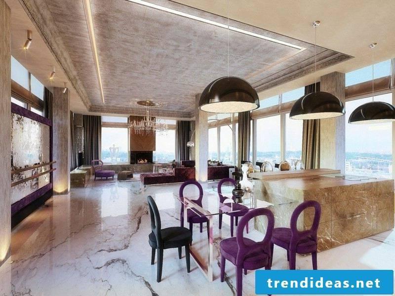 huge floor with marble tiles