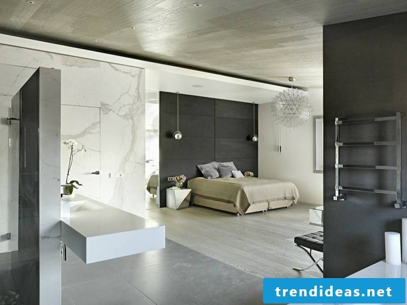 bright marble tiles in the bedroom