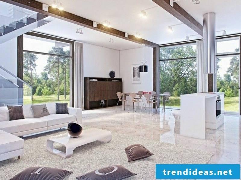 Modern designer marble tiles in the living room