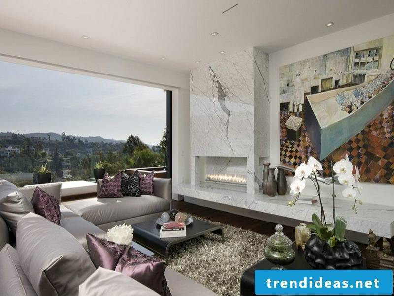 bright marble tiles and fireplace paneling