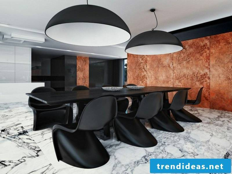 designer marble tiles in the dining room
