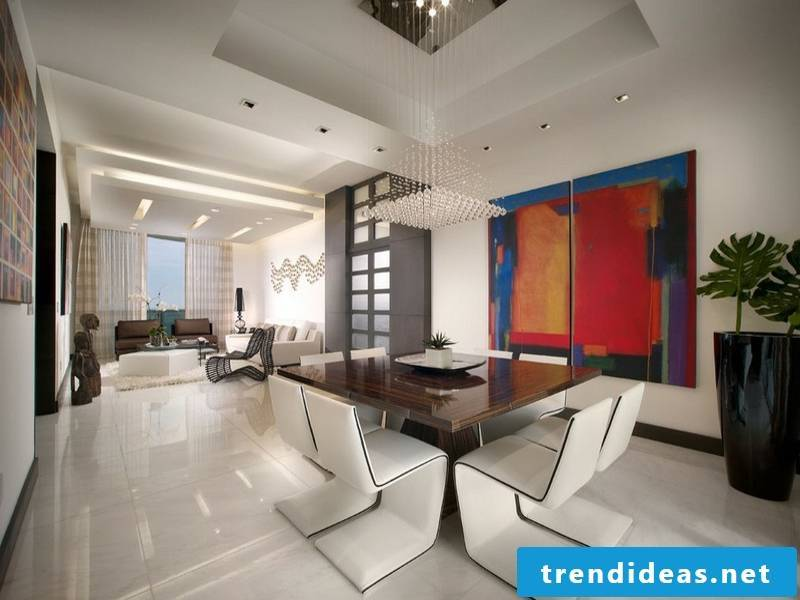 white leather chairs on the marble tiles