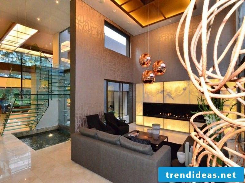 marble tiles and extravagant lighting