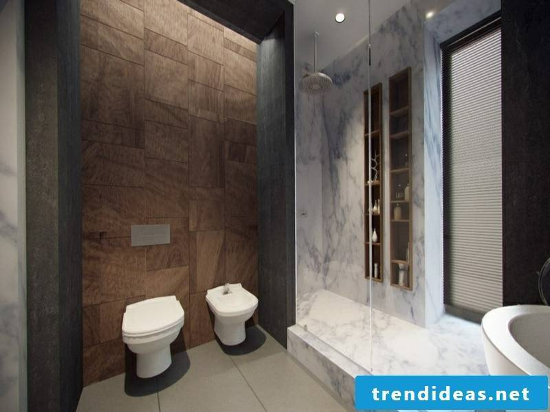 classic bathroom design with marble tiles