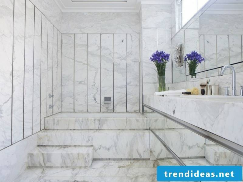 beautiful whole bathroom design with marble tiles