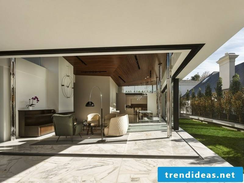 beautiful terrace design with marble tiles