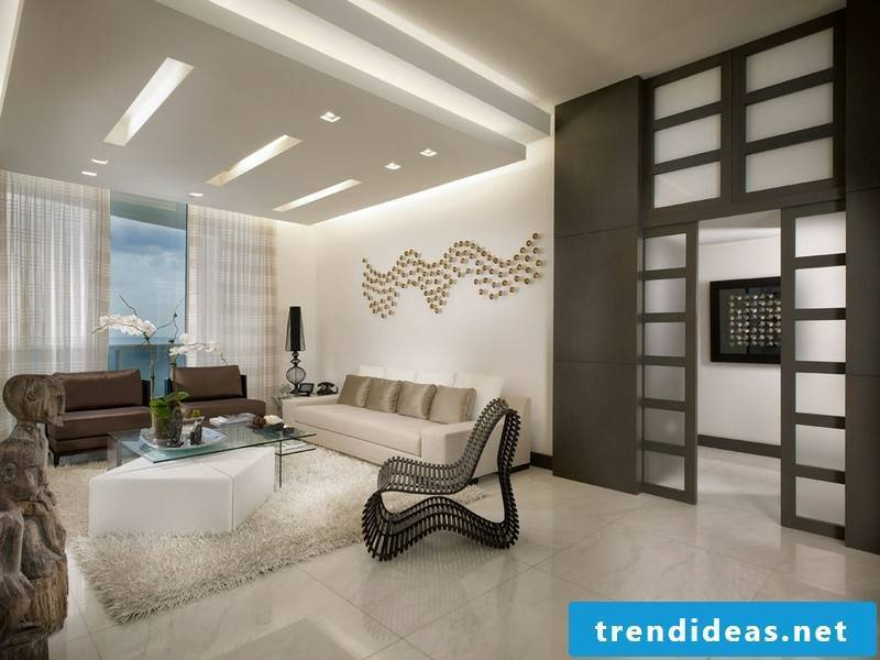 Marble tile flooring in the living room