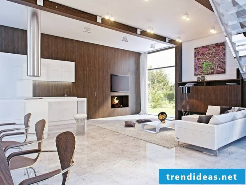 classic bright marble tiles in the living room