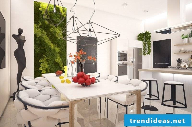 Vertical garden brings color in the white kitchen