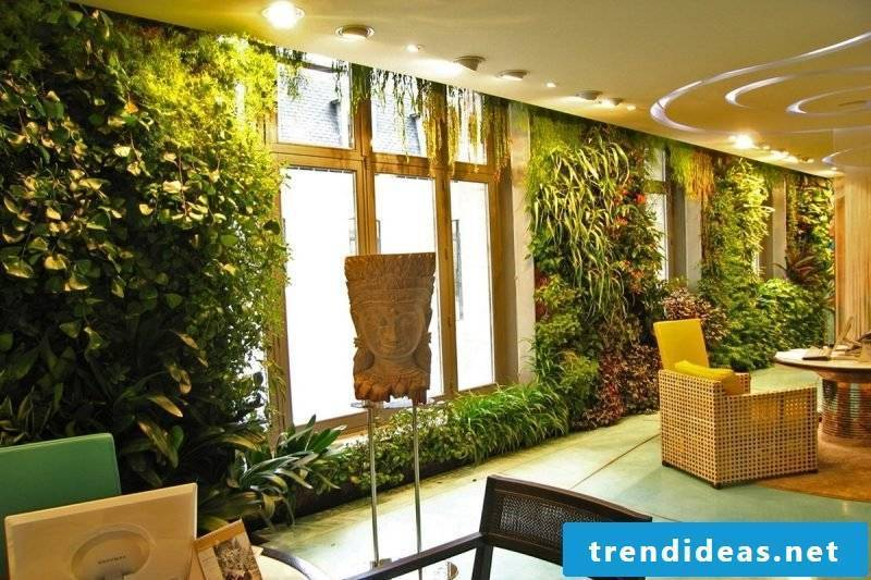 Vertical garden with different plants