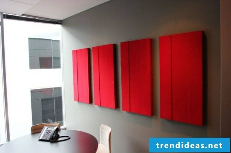 red acoustic panels