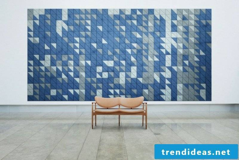 Accent wall acoustic panels geometric motifs