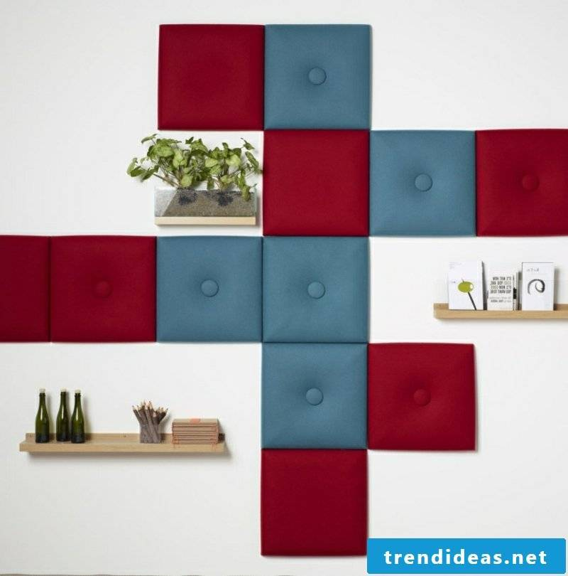 Acoustic panels red and blue