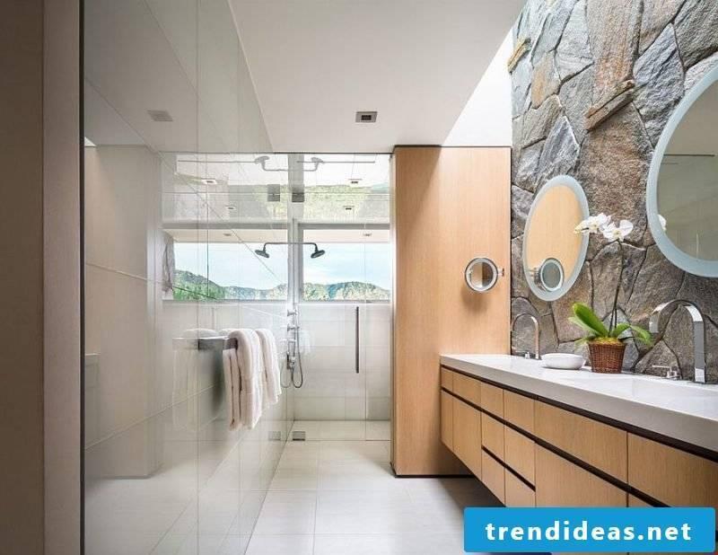 inside stone wall bathroom