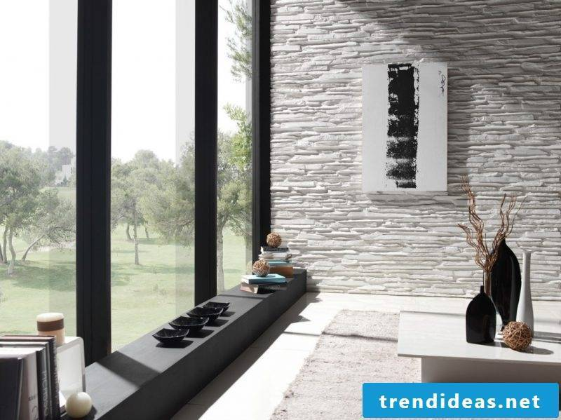 inside stone wall living room
