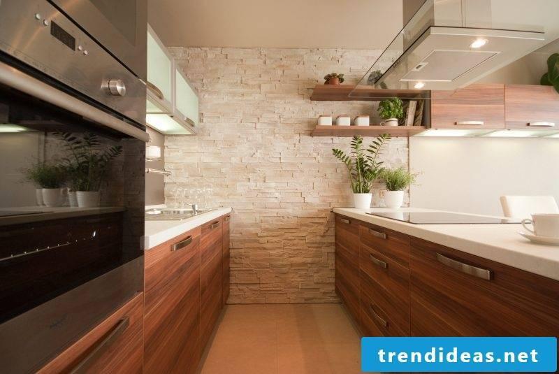 inside stone wall kitchen